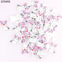 ZOTOONE Sewing Accessories Flatback Scrapbooking Woodn Buttons 100pcs Lovely Cat 20*34MM 2 Holes Wooden Craft D