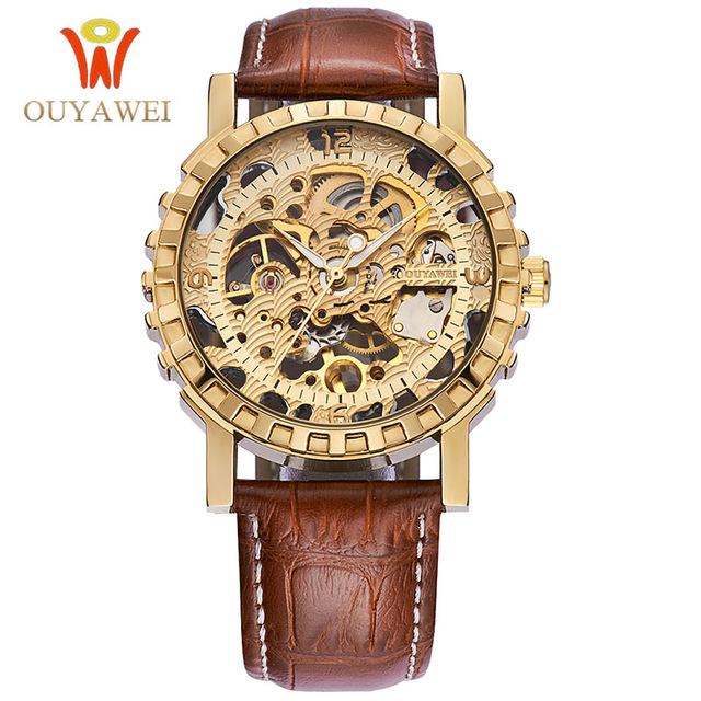 OUYAWEI Watches Men Top Brand Luxury Mechanical Hand Wind Watch Skeleton Wrist Watches Relogio Masculino Men Wristwatches 2017 fashion men mechanical hand wind watches men skeleton stainless steel wristwatches for male luxury golden watch men