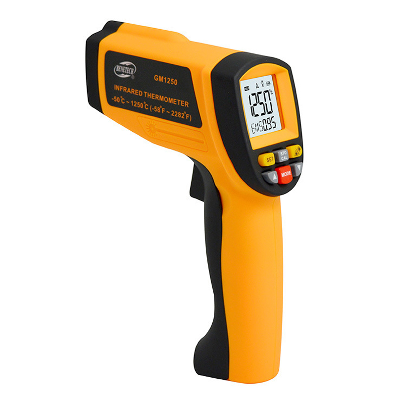 GM1250 Digital Non contact infrared thermometer Temperature Pyrometer IR Laser Point Gun EMS 0.1-1.0 -50~1250C(-58~2282F) holdpeak hp 1320 digital laser infrared ir thermometer gun meter non contact 50 1500c temperature tester pyrometer