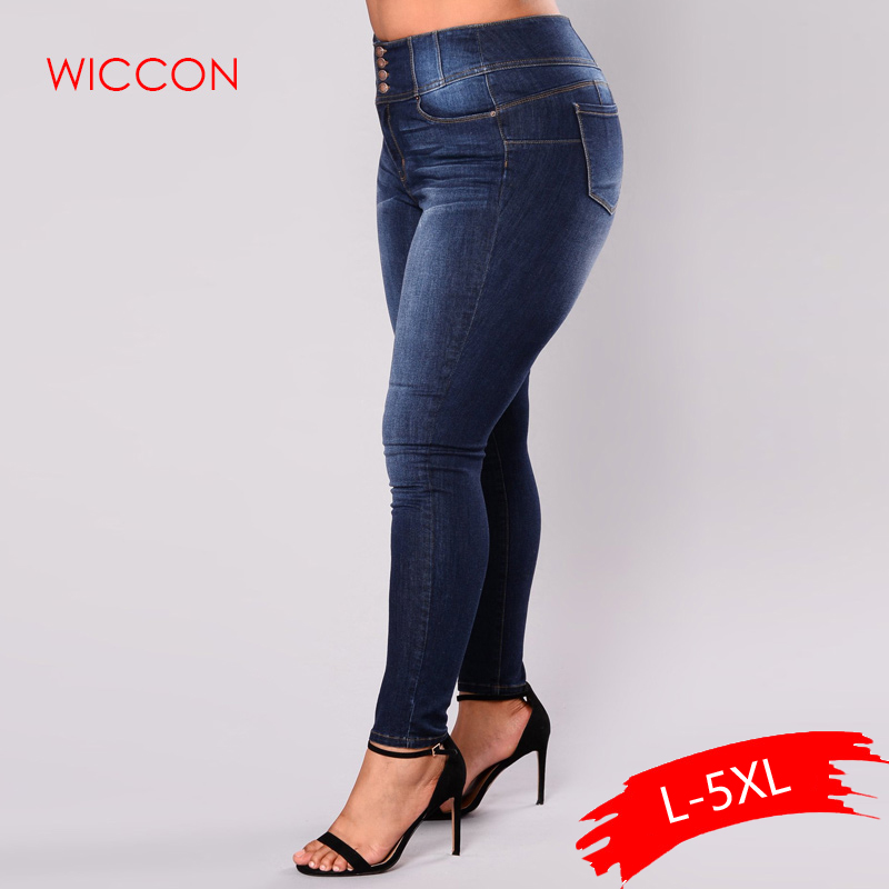 Women 5XL Plus Size   Jeans   Feminino Casual Push Up Denim   Jeans   Strech High Waist Skinny Pants Slim Fit Bodycon Trousers