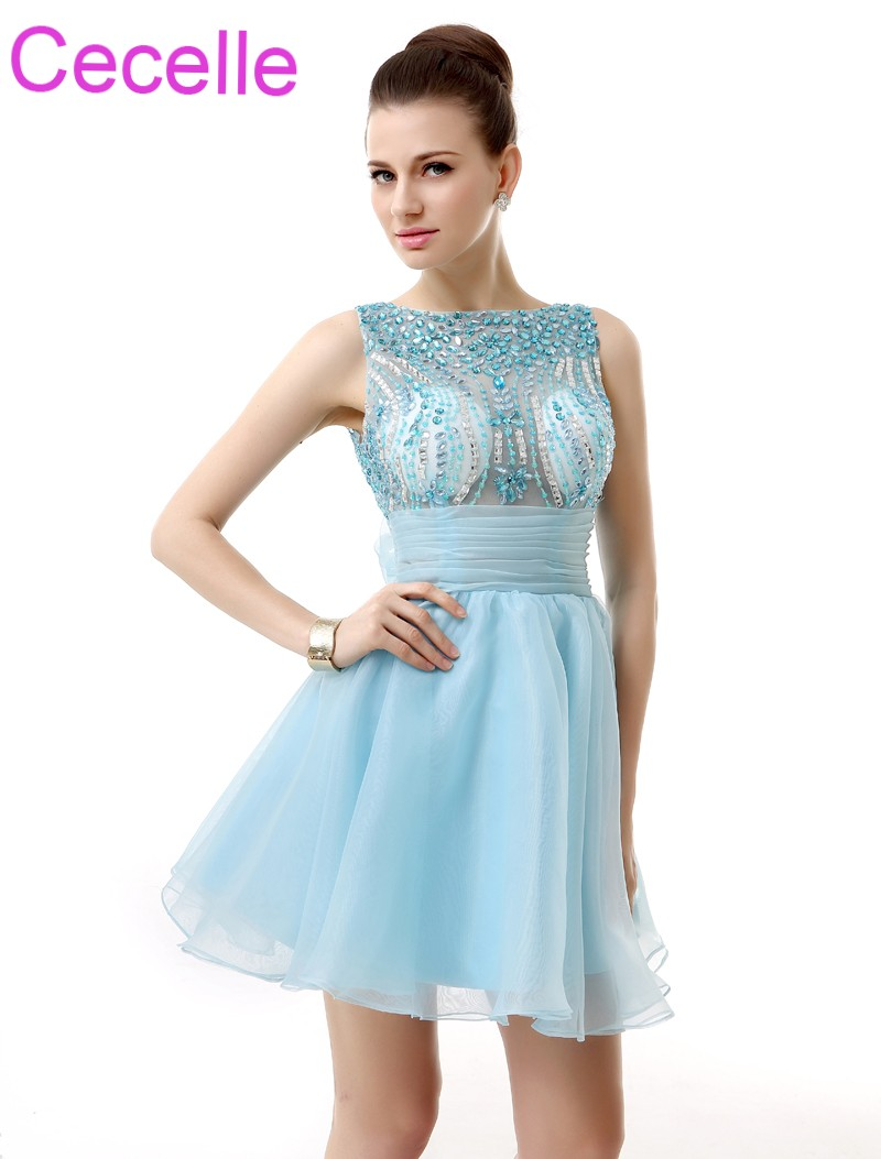 Blue Short   Cocktail     Dresses   2019 Beaded Top Open Back A-line Sleeveless Juniors Girls Informal   Cocktail   Party Gowns Real Photos