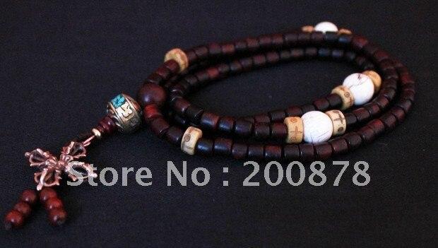 BRO984 tibétain méditation prière Mala grande feuille rouge santal Bracelets avec coquille de conque croix Dorje amulettes livraison gratuite