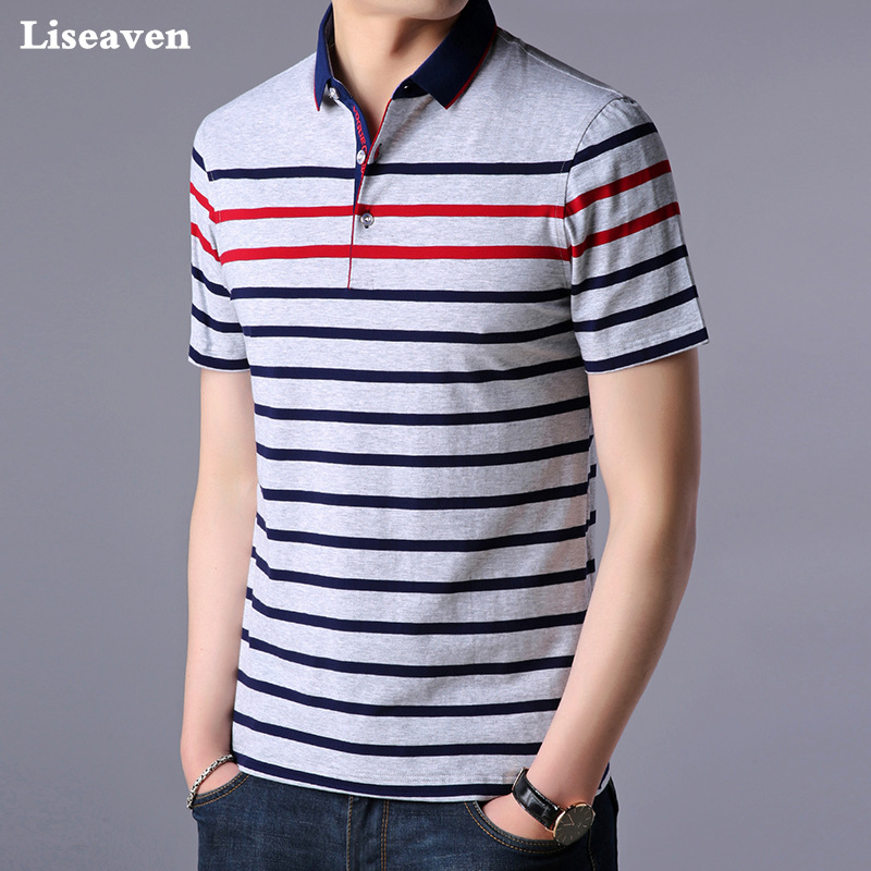 Liseaven Men Polo Shirt Short Sleeve Striped Polos Male Shirt Tops Tees Brand Clothing Men Camisas