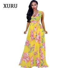 XURU Boho Chiffon Long Dress Women Sleeveless V-Neck Belted Floral Printed Loose Dresses Summer Casual Vacation Beach