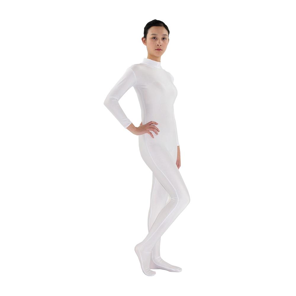 White Adult Spandex Lycra Bodysuit Zentai Women's Skin-tight Unitard Turtleneck Long Sleeve Zentai Bodysuit costume