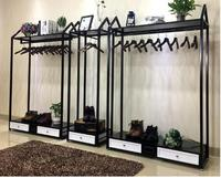 Clothing store hangers display rack rack men and women with cabinet display rack side hanging in the island combination of simpl