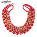 2016 Novo Multi-camada de Acrílico Borla Contas Vermelhas Mulheres De Luxo Artesanal Boemia Colar Apelativo Collar Jóias Livre Brincos 2188