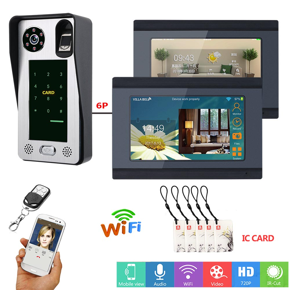 MAOTEWANG 7 Inch Wired Wifi Fingerprint IC Card Video Door Phone Doorbell Intercom System With Door Access Control System