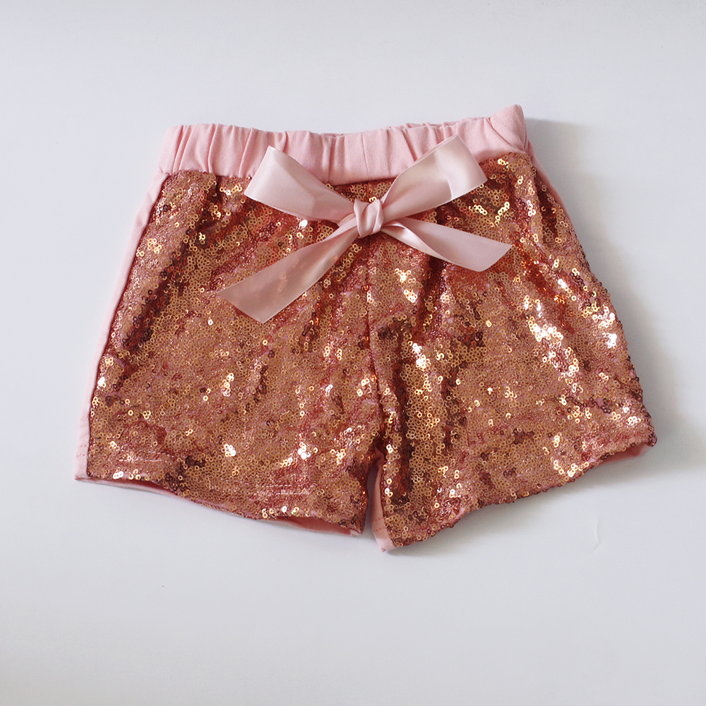 gold sequin shorts for girls baby summer shorts mid bow tie shorts girls loose elastic waist short for kids