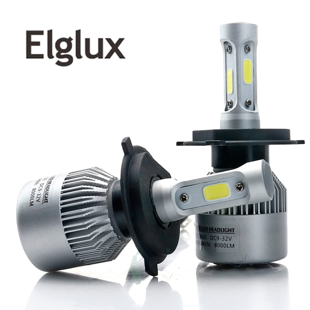 Elglux 2Pcs Auto H4 LED H7 H11 H8 9006 HB4 H1 H3 HB3 Car Headlight Bulbs 72W 8000LM Automobiles Lamp 6500K 12V for Super bright отсутствует французско русский русско французский словарь