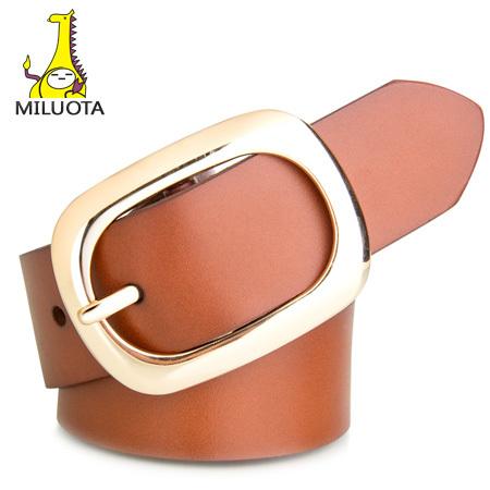 [MILUOTA] 2015 100% cintos de couro Genuíno para mulheres nova marca cintos femininos de metal pin fivela de cinto das mulheres cinto grosso LD5459