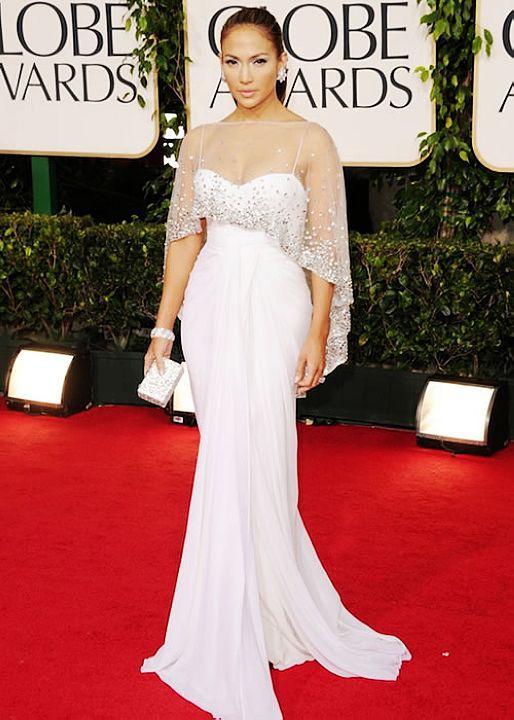 Free Shipping Jennifer Lopez select Golden Globe Gowns Shawl Beaded Chiffon White Celebrity Evening Dresses