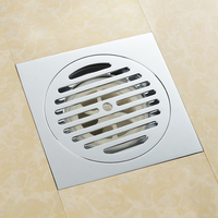 High quality chrome solid brass 150 x 150mm square anti odor floor drain bathroom balcony shower drain