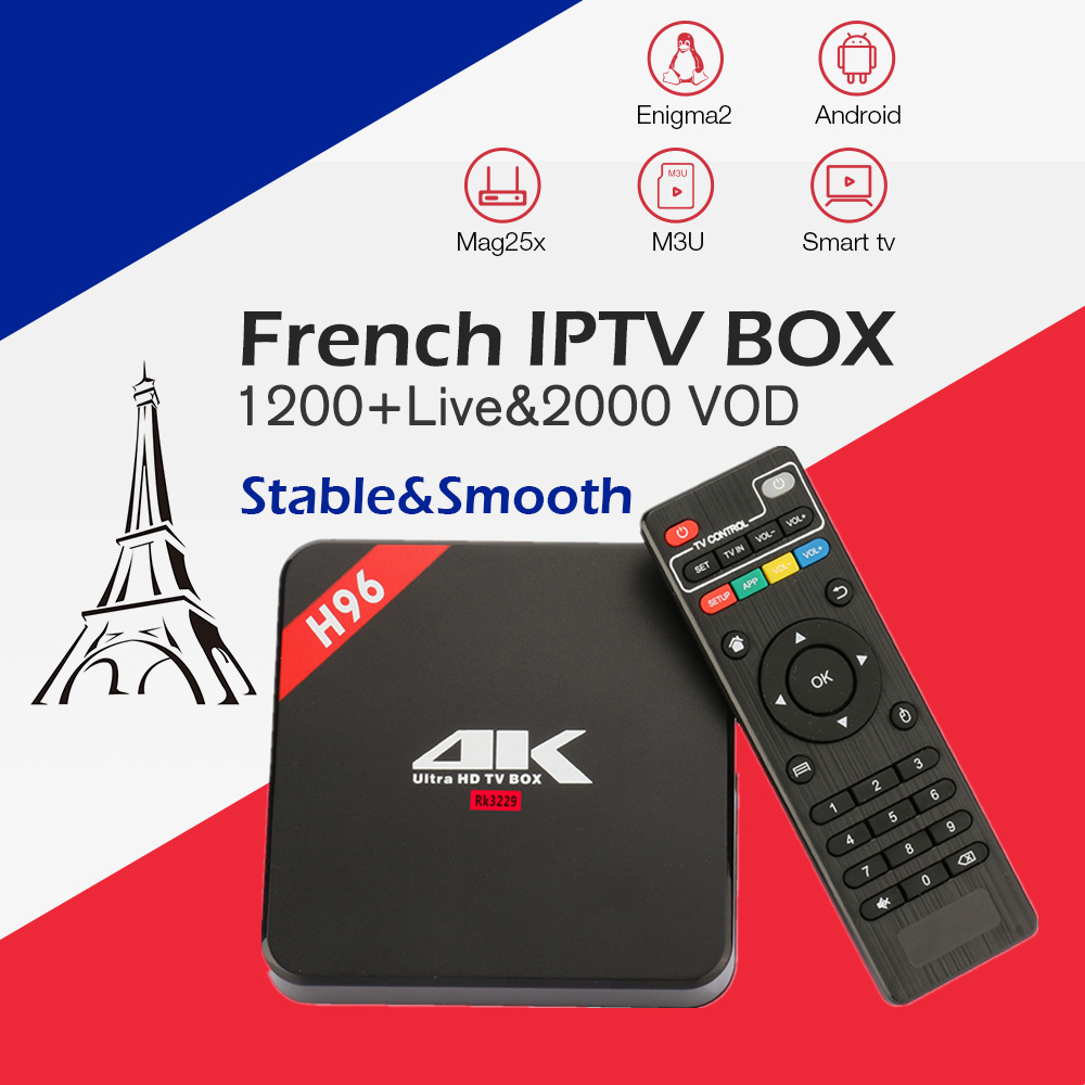 French IPTV Box H96 4K Android TV Box with 1200 NEOTV 2000 vod Europe France Arabic