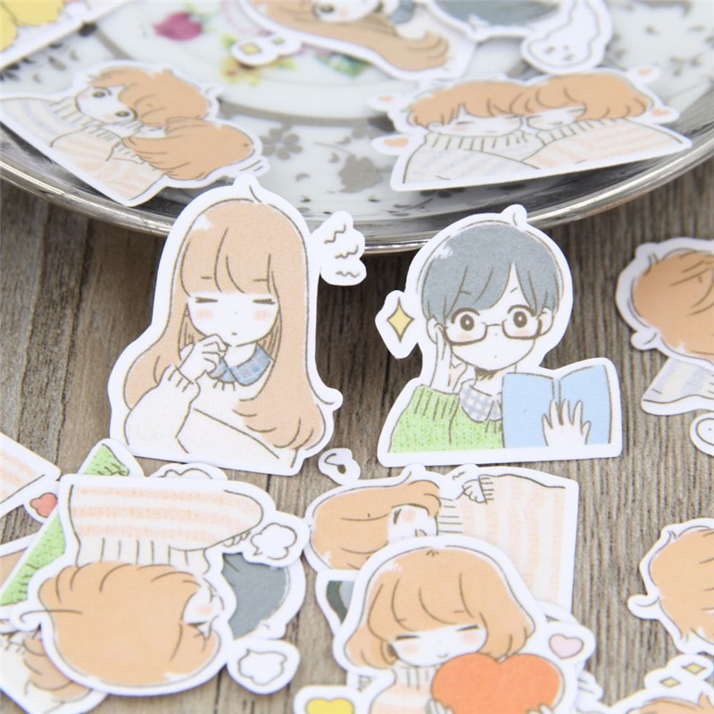 40 Pcs Papers Toys Stickers Flakes  For Diary Car Decoration Diy Hand-drawn Comics Girl Schoolboy Scrapbooking Children Sticker