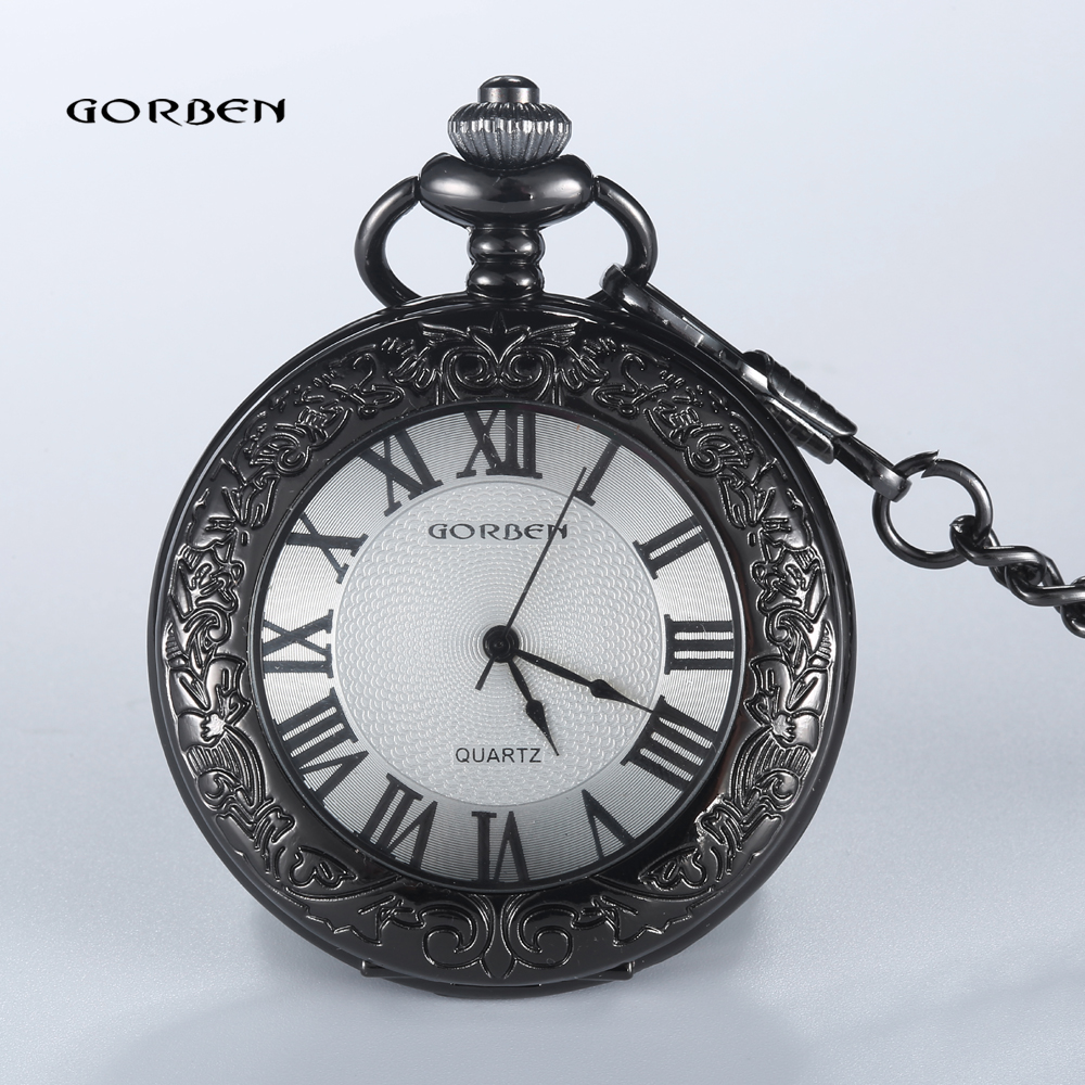 2016 GORBEN Black Carving Roman Numberla pocket watch Men Waist Chain Sculpture FOB Vintage Quartz Women Relogio de bolso Gifts men mechanical pocket watch roman classic fob watches flower design retro vintage gold ipg plating copper brass case snake chain