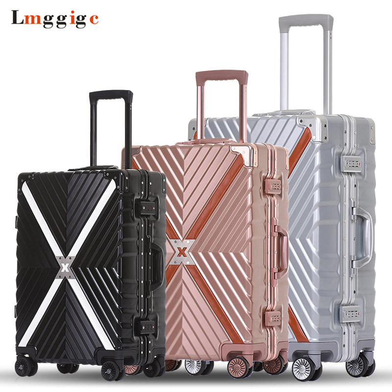 Aluminum frame Rolling Luggage Suitcase Bag,Multiwheel Trolley Case,Spinner Nniversal wheel Carry-On,Hardside Travel box Drag