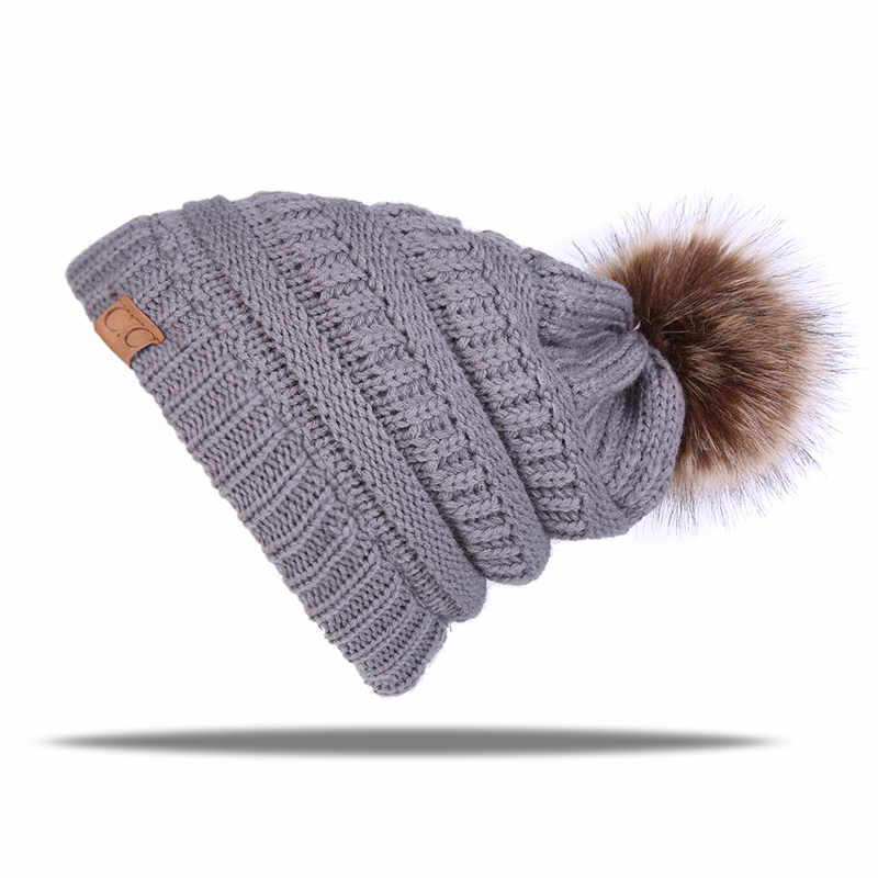 da2ad5df2 US $4.97 30% OFF|New brand cap Hot sale knitted beanie cap with thicker  cashmere warm winter hats for women outdoor pom pop ski caps-in Skullies &  ...