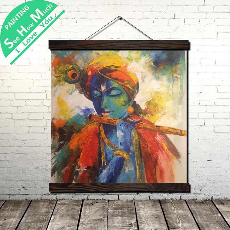Pin on Krishna Art Scroll Painting Canvas Vintage Poster and Prints Wall Art Picture Living Room Bedroom Farmhouse Decoration