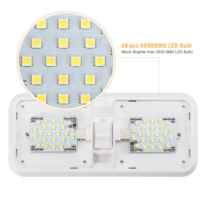 12V RV Ceiling Dome Light RV Interior Lighting 48 Led 5050 for Boat Camper Trailer Camper with Switch 6000k 6500k Clear Light-in RV Parts & Accessories from Automobiles & Motorcycles