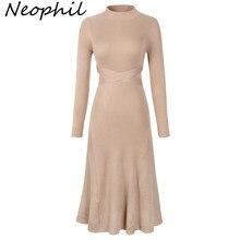 Neophil женские зимние вязаные трапециевидные платья средней длины с О-образным вырезом и бантом, с длинным рукавом, тонкие винтажные Женские Элегантные платья D2910