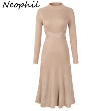 Neophil 2019 Women Winter Knitted A Line Midi Dresses O Neck Bow Sashes Long Sleeve Slim Vintage Ladies Elegant D2910