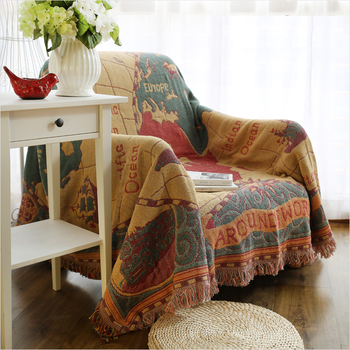 ESSIE HOME Sofa Blanket  Yellow Tone Old Map Of The World Pattern Map Cotton Thread Blanket For Living Room Tapestry Bedspread