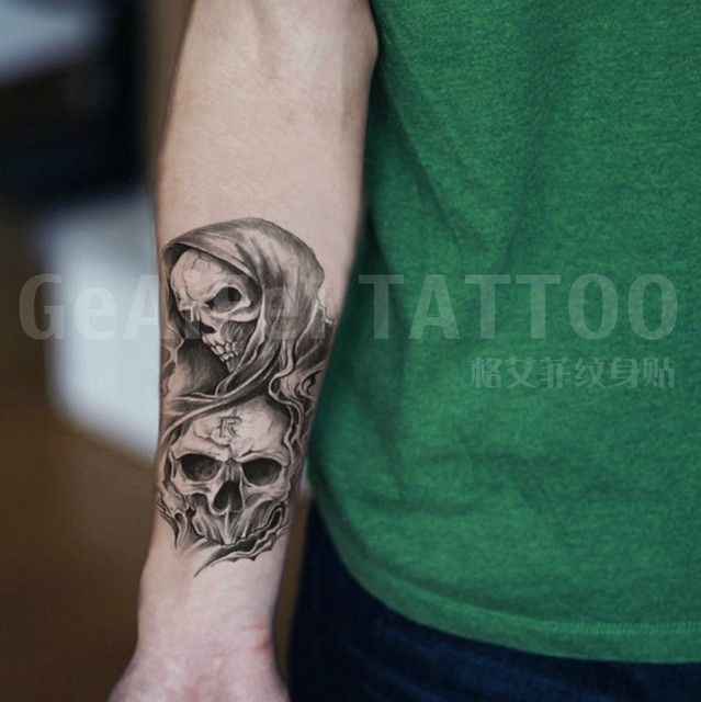 Double skulls R mark temporary tattoos cool Waterproof tattoos sticker tatto tattoing paint for women arm leg chest body makeup