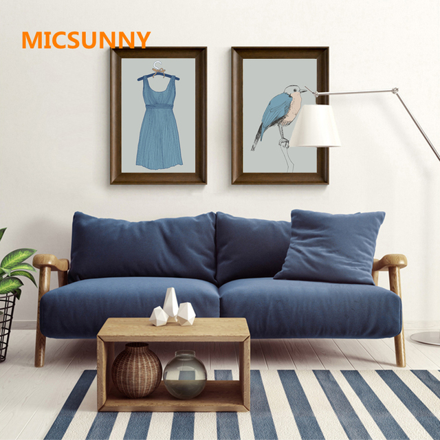 Micsunny frameless blue bird skirt art canvas poster minimalism painting print painting home decoration for living