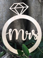 Wood Mr & Mrs Wedding Sign Diamond Ring Shape Wedding Chair Sign Photo Prop for Party Decoration 2pcs/lot