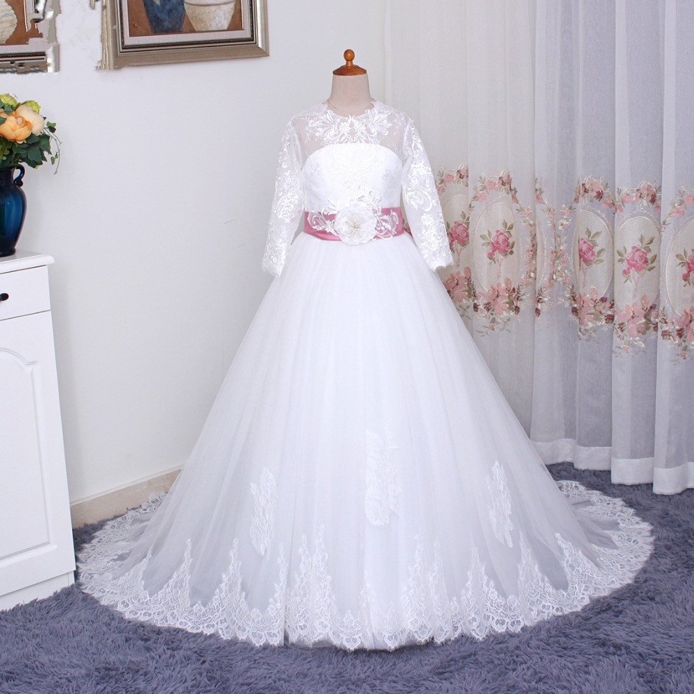 Real Picture 2018 Romantic Flower Girl Dress for Weddings with Belt Tulle Ball Gown Girls Party Communion Dress Pageant Gown original racerstar tattoof4s 30a blheli