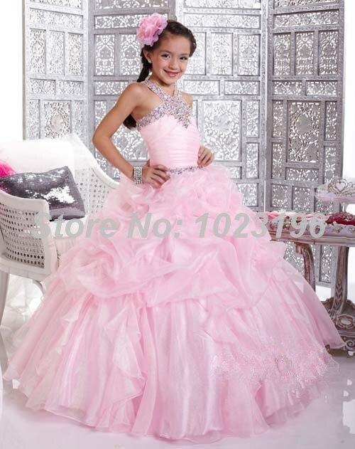 Aliexpress Com Buy Gorgeous Halter Beaded Princess Pink