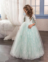2017 Lovely Flower Girl Dresses for Wedding Vintage Light Green Lace Tulle Kid Ball Gown Princess Birthday Party Gown