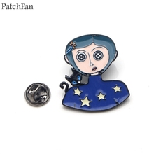 Patchfan Neil Gaiman Coraline Zinc alloy tie pins badges para shirt bag clothes cap backpack shoes brooches medals A1498