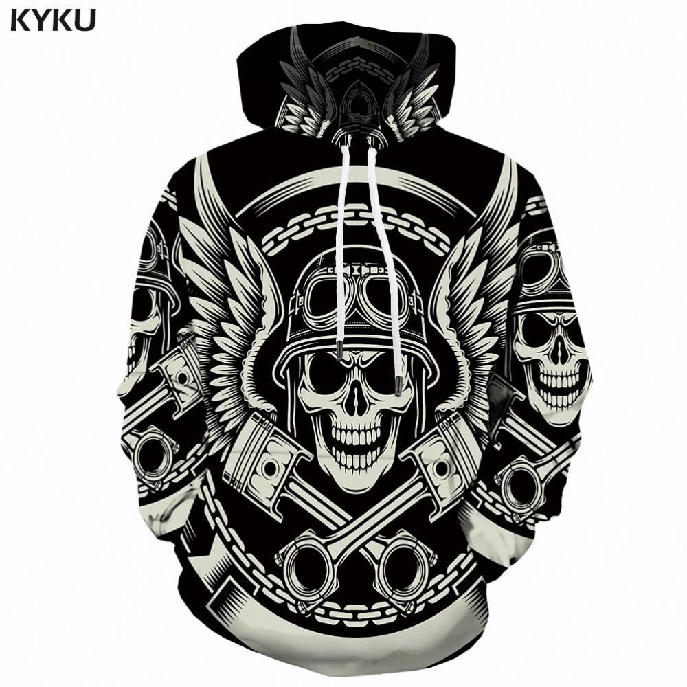 KYKU 3d Hoodies Men Skull White Sweatshirt Print Man Feather Punk Rock Mens Clothing Long Anime 3d Hoodie Streetwear Hooded New