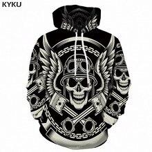 KYKU 3d Hoodies Men Skull White Sweatshirt Print Man Feather Punk Rock Mens Clothing Long Anime Hoodie Streetwear Hooded New