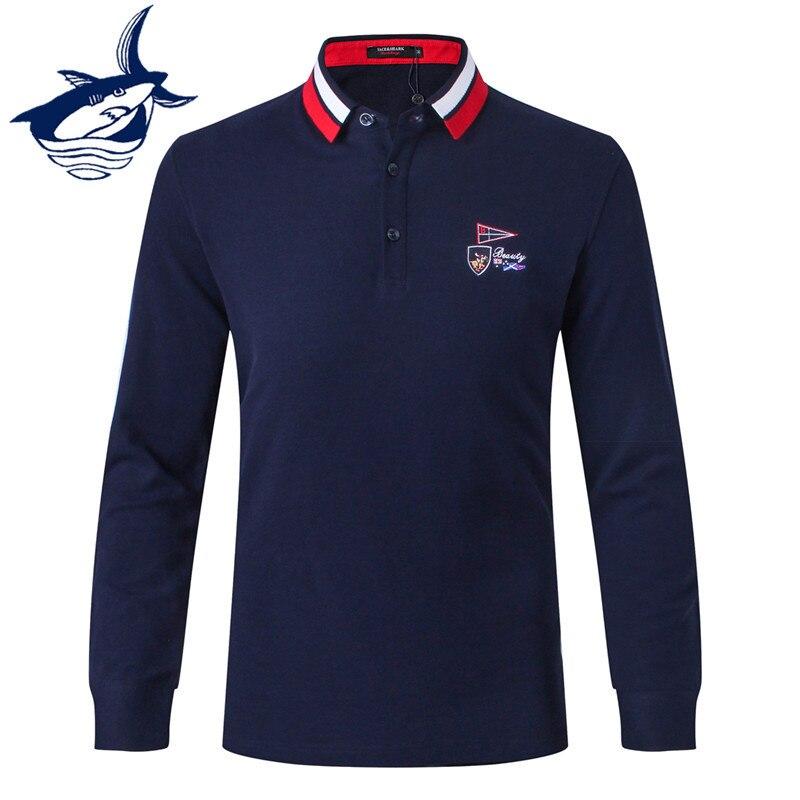 mens Long sleeve Polo shirt brand mens solid knit small lapel mens casual mens Polo shirts Tace Shark Business polo shirt
