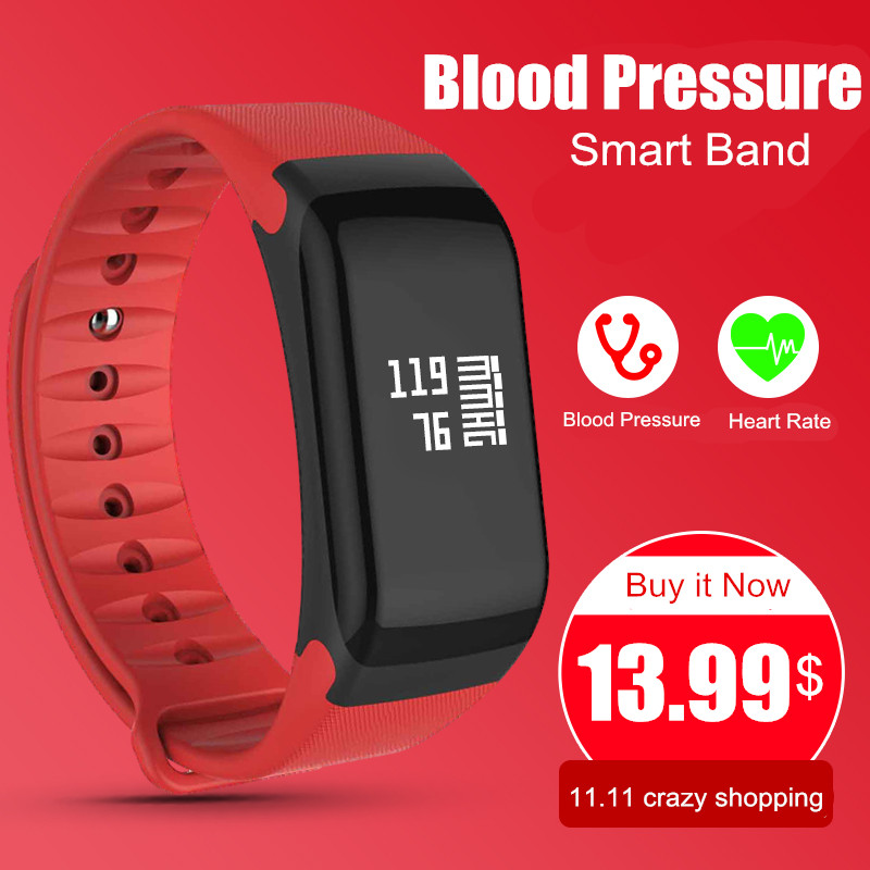 Blood Pressure Monitor Smart Band F1 Smart Watch Fitness Tracker Activity Wristband Heart Rate Monitor Pedometer Smart Bracelet