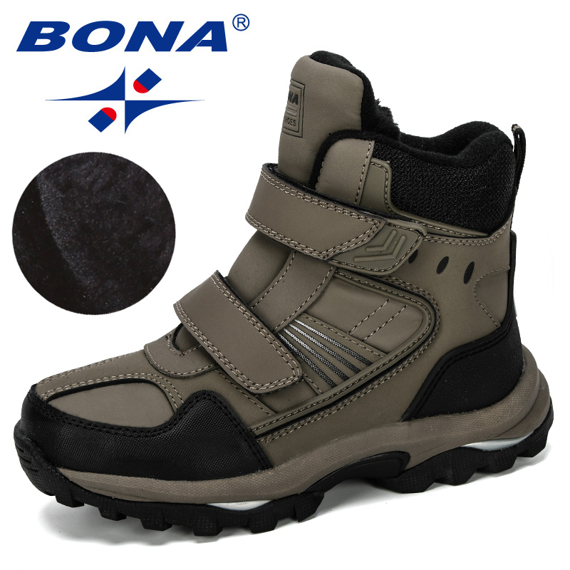 BONA 2019 New Designer Popular Children Snow Boots Warm Winter Boots Fashion Plush Kids Sneakers Boys Cow Split Boots Trendy