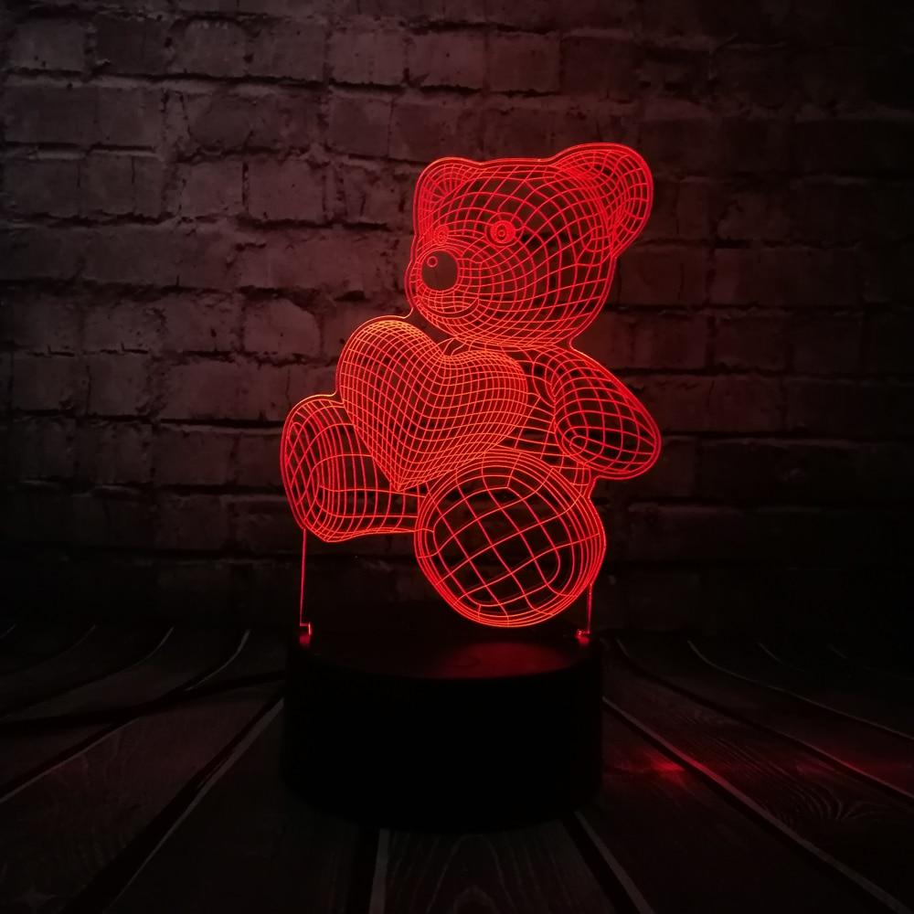 2018 Baby Teddybär Halten Liebe Herz Ballon 3D USB LED Tischlampe ...