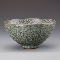 #9Antique QingDynasty porcelain Large bowl,Celadon,Ge Kiln,Hand painted crafts,Decoration,Collection&Adornment,Free shipping