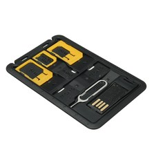 5 in 1 Universal For Nano Micro SIM Card Memory Card Adapter Mini SIM Card Storage Case Kits Holder Reader Case Cover Connector(China)