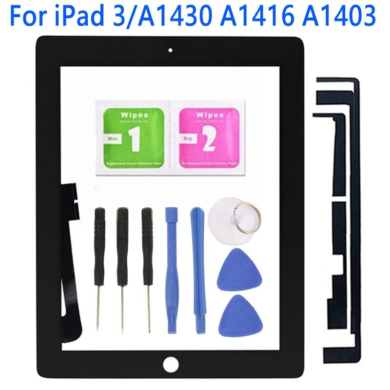 Pcs Para iPad 3 1 A1430 A1416 A1403 Tela Sensível Ao Toque LCD Digitador Da Tela de Toque Do Painel Frontal de Vidro Exterior Com Casa substituição botão