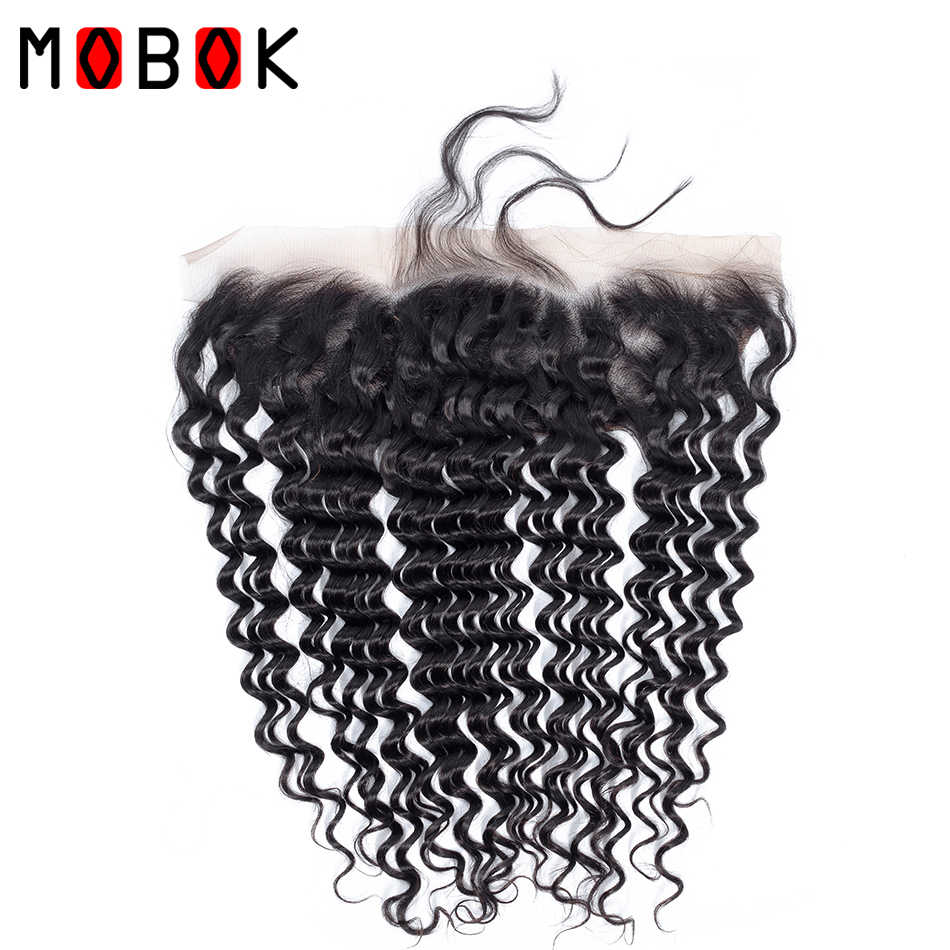 MOBOK Brazilian Deep Wave 13*4 Lace Frontal Free/Middle/Three Part Swiss Lace Frontal Natural Color  No-Remy 100% Human Hair