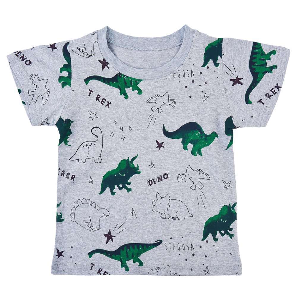 Boys Sporting Exercise Shirts Summer Cartoon Dinosaur Printing Trainning Tshirt Children Boy Short Sleeve Tops Tees