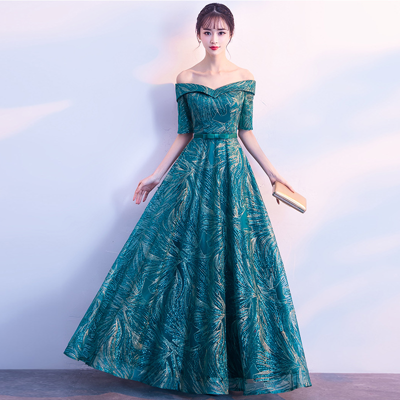 New Boat Neck Sashes Lace up back A Line Half sleeves   Evening     Dresses   Party Vestido De Festa Prom Gowns Long Fashion