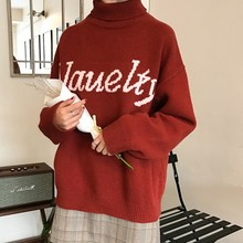 Oversized Sweater Women New AutumnTurtleneck Letter Pullover Basic Temperament Sweaters Female Casual Loose Tops