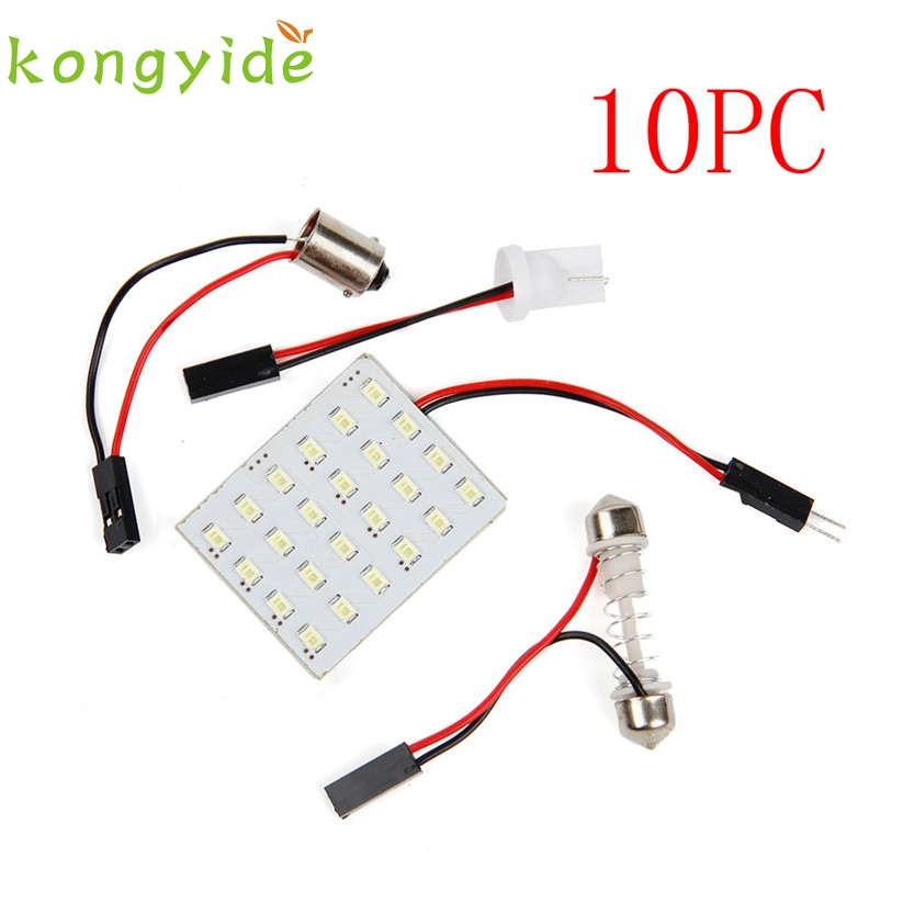 Car-styling 12V Panel 24SMD Car Interior LED White Map Dome Light Lamp Super Universal fe24