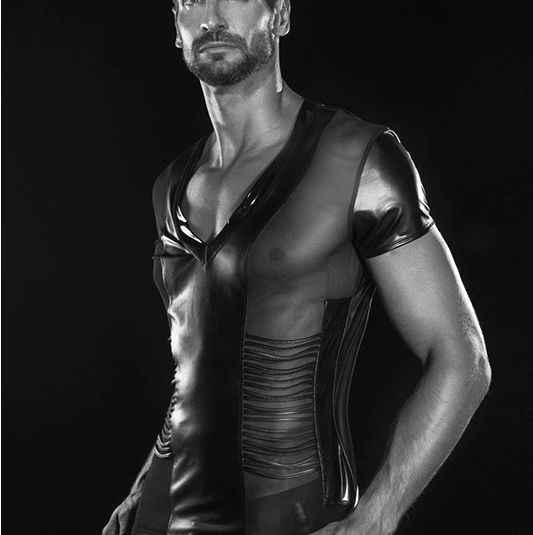 e54ecbc4a 2018 Sexy Men's Fun Patent Leather Black T-Shirt Tops Tees Men Wet Look  Fetish