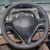 leather hand Top Leather Steering Wheel Hand-stitch on Wrap Cover For Honda Civic 8th 2006-2011 (3)
